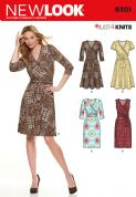 6301 New Look Pattern: Misses' Mock Wrap Knit Dress